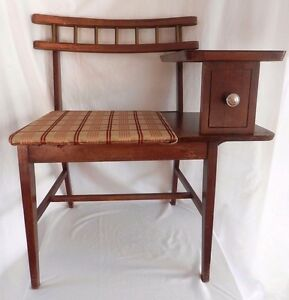 Vintage Mid Century Gossip Bench Telephone Table Chair Desk Top Phone Seat
