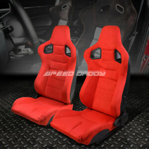Pair All Red Reclinable Faux Suede Carbon Fiber Pattern Racing Seats W Sliders