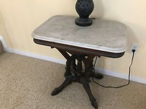 Antique Carved Mahogany Table With White Marble Top Estate Piece Excellent