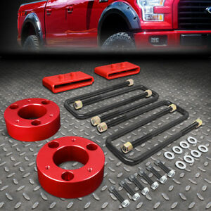 For 2004 2017 Ford F150 4wd Red 3 F Spacers 1 R Blocks Raise Leveling Lift Kit