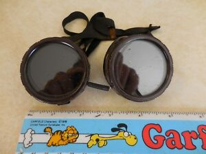 Vtg Welding Goggles Brown Blk strap Vented Made In Usa Pat 2233664 Ships Free