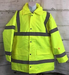 Mutual 16370 High Visibility Polyester Ansi Class 3 Winter Parka Safety Coat Xl