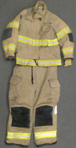 Firefighter Set Jacket 40x29 Pants 42r Bunker Turn Out Gear Janesville S24