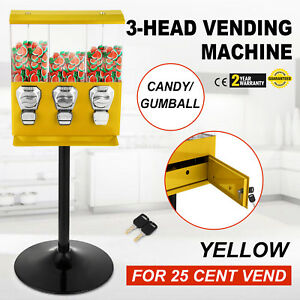 Yellow Triple Bulk Candy Vending Machine Trivend Chewing Gum With Keys