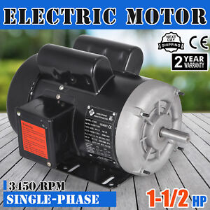 Electric Motor 1 1 2 Hp Single phase 3450rpm Tefc 5 8 Shaft Heavy duty Pumps