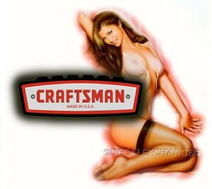 Craftsman Tool Sticker Fire Girl Sexy Decal Mechanic Toolbox Sign Chest Usa
