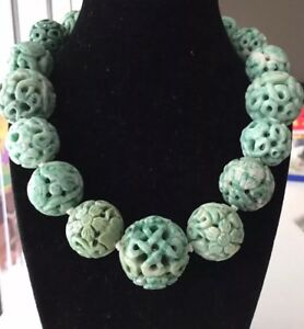 Antique Hand Carved Jade Bead Necklace Shou Chinese Jewelry Estate Lot