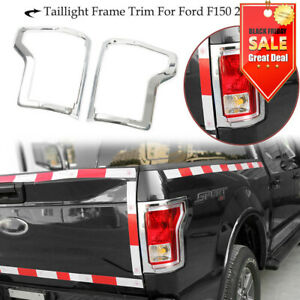 For 2015 17 Ford F150 Rear Truck Tail Light Cover Trim Bezel Accessories Chrome