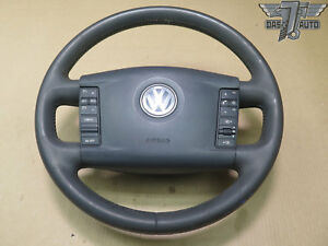 07 10 Vw Touareg 7l Steering Wheel W Control Switches Leather Black Oem