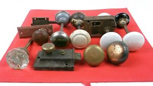 Antique Vintage Door Knobs Glass Brass Porcelain Metal Set Of 9