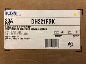 Eaton Dh221fgk Heavy Duty Safety Switch 30a 240vac 250vdc