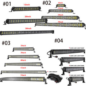 Single Row 3row 4row Led Light Bar 6 12 20 30 40 52 54in Roof Bumper Grille Slim