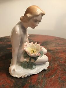 Karl Ens Art Deco Germany Nude Lady With Water Lily Porcelain Figurine