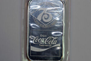 1 oz 75th Anniversary Coca Cola Pure 999 Silver Art Bar Cincinnati, OH (NUM3729)