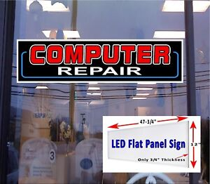 Led Sign Computer Repairs Window Sign 48x12 Neon Banner Alternative New Led