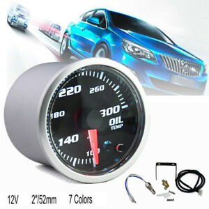 New 52mm Silver 7 Color Oil Temperature Gauge 100 To 300 Fahrenheit