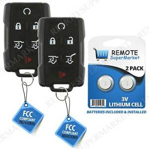 2 Replacement For 2007 2015 Chevy Tahoe Traverse Gmc Yukon Remote Key Fob 6b Blk Fits Tahoe