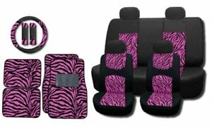 Hot Pink Zebra Mesh 15pc Set Car Seat Covers And Floor Mats