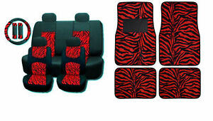 Red Zebra Mesh 15pc Set Car Seat Covers And Floor Mats