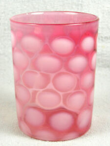 Antique Victorian Glass Cranberry Opalescent Coin Spot Tumbler