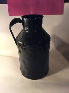 Vintage Antique Metal Milk Cream Bucket Can Rusty Painted Black Primitive Decor