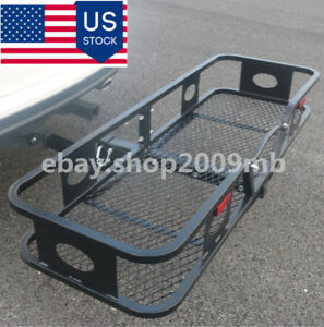 Hitch Mounted Folding Cargo Carrier Fit For 2 Receiver Hitch Steel