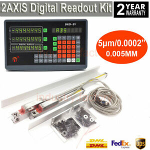 Precision Linear Scale 2 Axis Digtial Readout Display Dro Kit 5 m Milling Lathe
