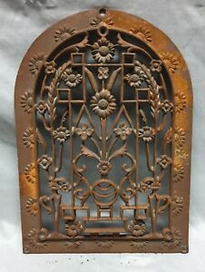 One Antique Arched Top Heat Grate Grill Floral Decorative Arch 10x14 622 18c