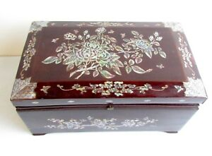Antique Jewelry Trinket Box Rosewood Mother Of Pearl Inlay Floral Decoration