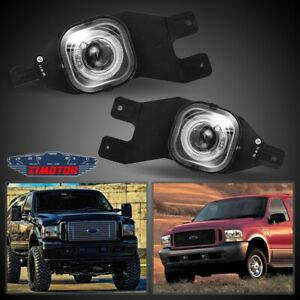 Fit Ford Excursion 99 04 Clear Lens Pair Bumper Fog Light Lamp Halo Projector