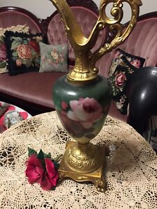 Antique Victorian Ewer With Roses Hand Painted