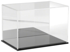 Plymor Acrylic Display Case With Black Base mirror Back 12 W X 8 D X 8 H
