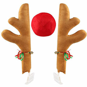 New Christmas Rudolf Reindeer Car Antlers Nose Auto Decoration Automotive 3pc
