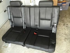 07 14 Yukon Tahoe Suburban 3rd Third Row Seat Black Ebony Leather 2007 2014
