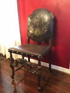 4 Four Spanish French Baroque Gold Hand Painted Studded Dining Chairs Side Rare