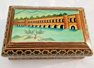 Goegeous Persian Isfahan Khatam Trinket Box With Miniature Painting Signed
