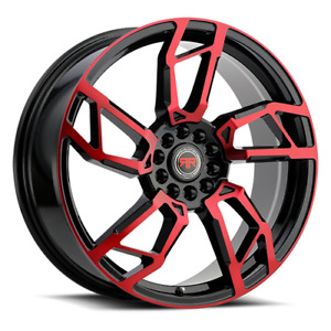 18 Inch Revolution Racing R 22 Black And Red Wheels Rims Fit 5 X 114 3