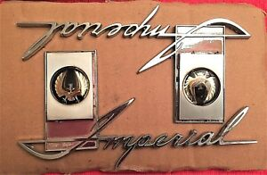 Set Of Two 1964 Imperial Nameplate Fender Emblems Part 2445846 Minty