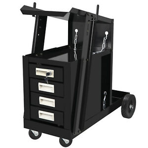 Welding Welder Cart Mig Tig Arc Plasma Cutter Tank Storage W 4 Drawer Cabinet