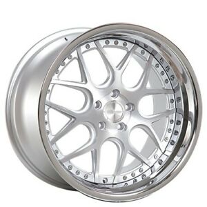New 4 20 Staggered Rennen Wheels Csl 2 Silver With Chrome Step Lip Rims