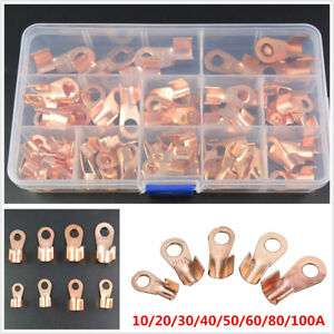 Copper Open Lugs Battery Cable Connector Terminals Ot 10a 100a 90pcs With Box