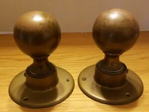 Vintage 6 Brass Newel Post Finial Large Door Knob Staircase Post Top Lot Of 2