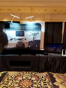 Curved Tabletop Exhibit Display Board W 2 Led Lights Used Once At Trade Show