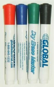 Global Industrial 695527 Dry Erase 4 Color Marker Sets Qty 10