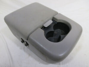 97 03 Ford F150 Center Console Jump Seat Armrest W Cup Holder Lite Grey