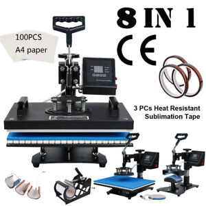 8in1 Digital Sublimation Heat Press Machine For T shirt W Transfer Paper