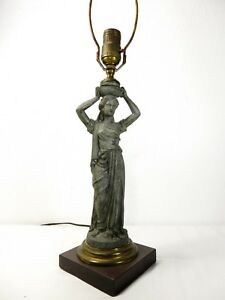 Antique Victorian Spelter Greek Roman Robed Woman Statue Table Lamp Sculpture