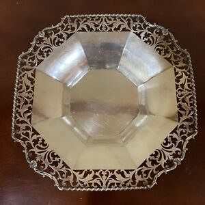 Antique English Adie Bros Sterling Silver Bon Bon Bowl Dish Octagonal Footed
