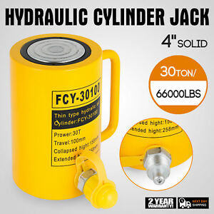 30 Tons Solid Hydraulic Cylinder Jack 100mm 4inch Stroke Ram Single Acting