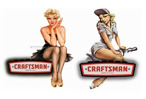 Craftsman Tools Sticker Set Of 2 Sp Glossy Decals Tool Box Sexy Pinup Girls Usa